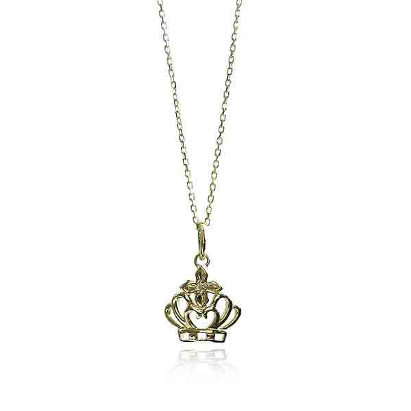 レディース ウィメンズ 女性 アクセサリー シルバー プレゼント ギフト フォーマル クラウンチャームペンダント ゴールド 10K (wf-p-3y ゴールド-k10-di) 王冠 ダイヤモンド 小ぶり レディース