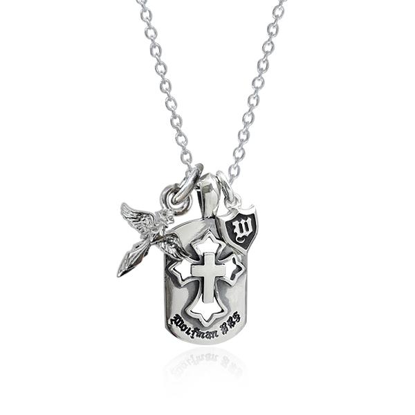 ネックレス ペンダント チェーン付き 狼 ウルフ シルバー925 ウルフマンBRSエンジェルクロスチャーム ドッグタグペンダント (wo-p-108) 天使 エンジェル クロス 十字架 男女兼用