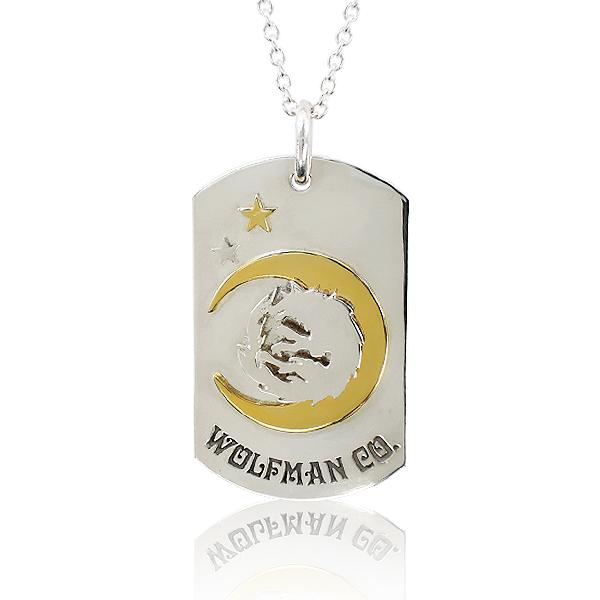 ネックレス ペンダント チェーン付き 狼 ウルフ シルバー925 ウルフマンBRSムーンスタードッグタグペンダント (wo-p-119) 月 星 ゴールド ロゴ