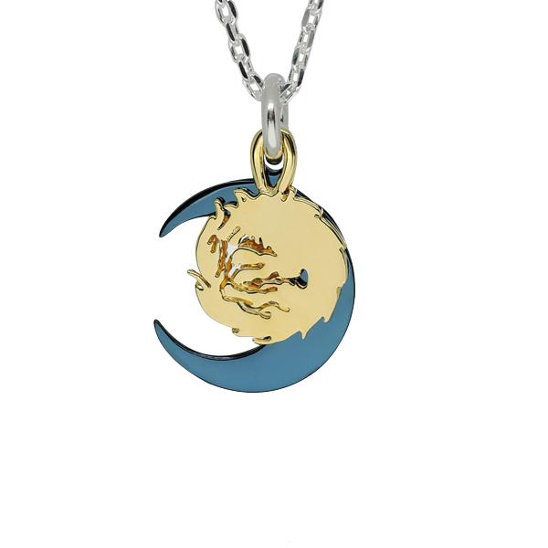 ネックレス ペンダント チェーン付き 狼 ウルフ シルバー925 ウルフマンBRSゴールド ムーンウルフ チタン (wo-p-145g) チタン ブルー ゴールド 2枚