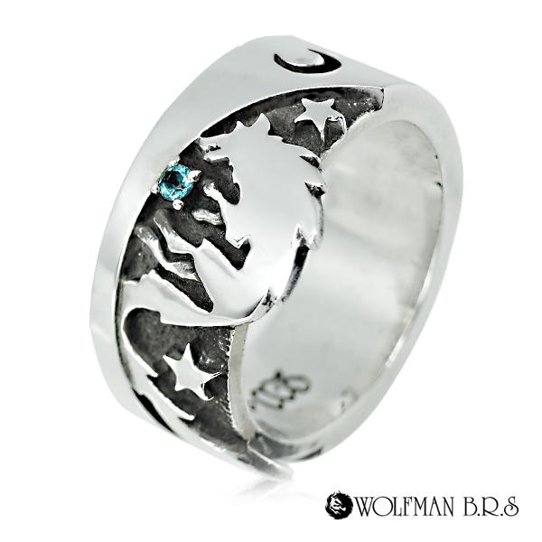 リング 指輪 狼 ウルフマンBRS シルバー925 アクセサリー メンズ ブルートパーズ 星 スター 月 ムーン 17号 19号 21号 23号 ムーンシャドウウルフリング