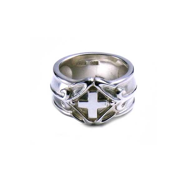 リング 指輪 狼 ウルフマンBRS シルバー925 アクセサリー メンズ サティーナ クロス 十字架 13号 15号 17号 19号 21号 サティーナクロスリング