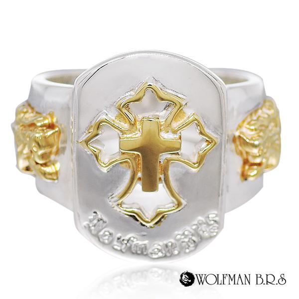 リング 指輪 狼 ウルフマンBRS シルバー925 アクセサリー メンズ クロス 十字架 17号 19号 21号 23号 セイントクロスリング ゴールド