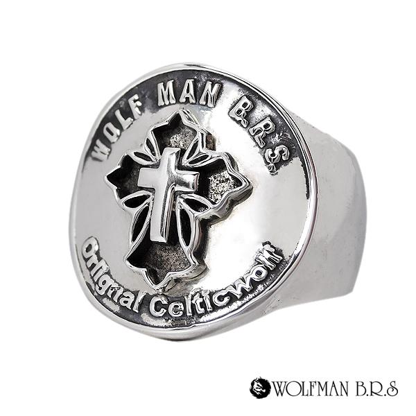 リング 指輪 狼 ウルフマンBRS シルバー925 アクセサリー メンズ クロス 十字架 ムーン 狼 ウルフ コイン お金 マネー コインリング 19号 21号 23号 セイントクロスコインリング