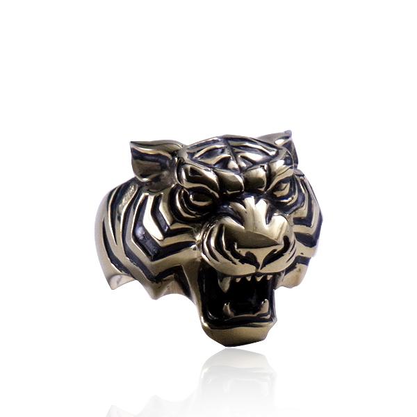 リング 指輪 狼 ウルフマンBRS シルバー925 アクセサリー メンズ 虎 タイガー いかつい ヘッド 頭 17号 19号 21号 23号 タイガーマンリング ゴールド