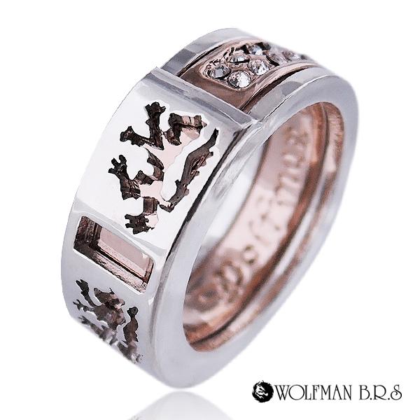レディース ウィメンズ 女性 アクセサリー シルバー プレゼント ギフト フォーマル リング 指輪 ゴールド レディース・ユニセックスブラザーウルフリングP ゴールド ホワイトストーン狼 ウルフマン ウルフマンbrs