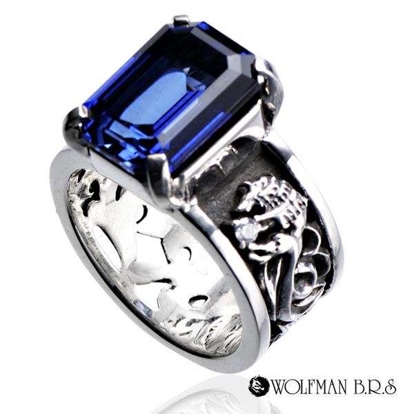 レディース ウィメンズ 女性 アクセサリー シルバー プレゼント ギフト フォーマル リング 指輪 パルメットウルフリング ダブル サファイア(シンセ)狼 ウルフマン ウルフマンbrs