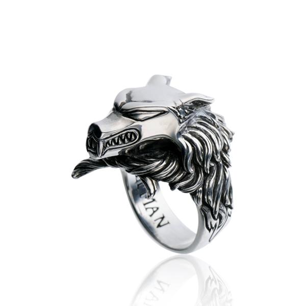 リング 指輪 狼 ウルフマンBRS シルバー925 アクセサリー メンズ 狼 ウルフ ヘッド 頭 ブルートパーズ 17号 19号 21号ダークナイツウルフリング