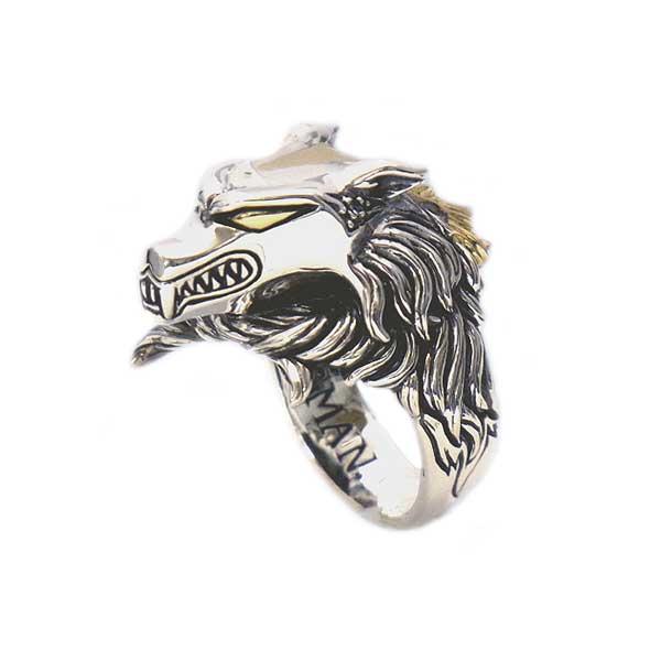 リング 指輪 狼 ウルフマンBRS シルバー925 アクセサリー メンズ 狼 ウルフ ヘッド 頭 ブルートパーズ ゴールドコーティング 17号 19号 21号ダークナイツウルフリング MG
