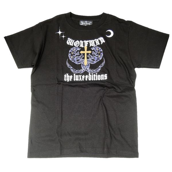 シルバー925 シルバー Tシャツ メタリックゴールド × パープル クロス XS狼 ウルフマン ウルフマンbrs
