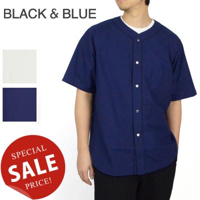 ブラックアンドブルー BLACK & BLUE ウォッシュドベースボールシャツ Washed Baseball Shirts 122S08