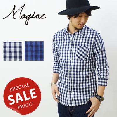 マージン Magine インディゴタイプライターブロックチェックシャツ INDIGO TYPE WRITER BLOCK CHK SHIRT 1521-19