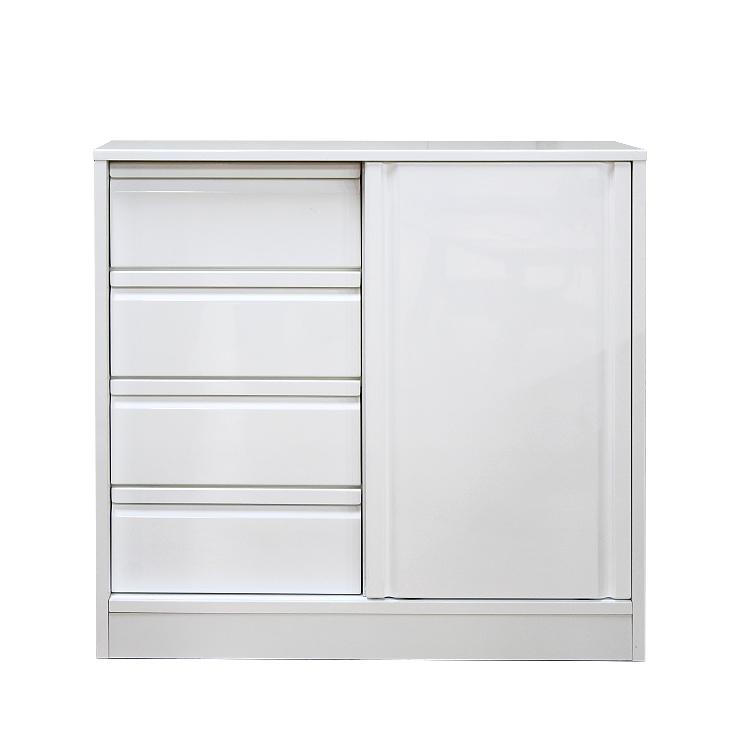 キッチンカウンター 完成品 幅90cm  ホワイト 白 木製 シンプル キッチン収納 食器棚 食器収納 ダイニングボード キッチンボード キッチンキャビネット 水屋