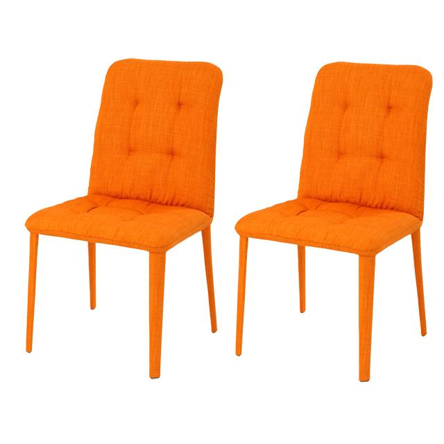 ダイニングチェアー 2脚セット オレンジ 布張り製 北欧風 食堂椅子 食堂チェアー 食卓チェアー 食卓椅子 カウンターチェアー いす イス カフェチェアー