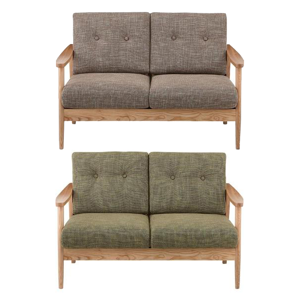 2人掛けソファー 肘付き ブラウン グリーン 緑 布張り製 2人用ソファー 二人掛けソファー 二人用ソファー ラブソファー そふぁー ダブルソファー コンパクトソファー