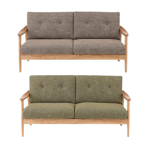 3人掛けソファー 肘付き ブラウン グリーン 緑 布張り製 3人用ソファー 三人用ソファー 三人掛けソファー そふぁー ラブソファー