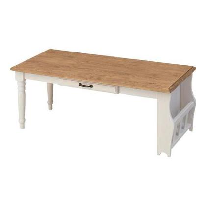 センターテーブル 幅105cm ホワイト 白 ナチュラル 木製 カントリー風 ローテーブル リビングテーブル コーヒーテーブル りびんぐてーぶる カフェテーブル