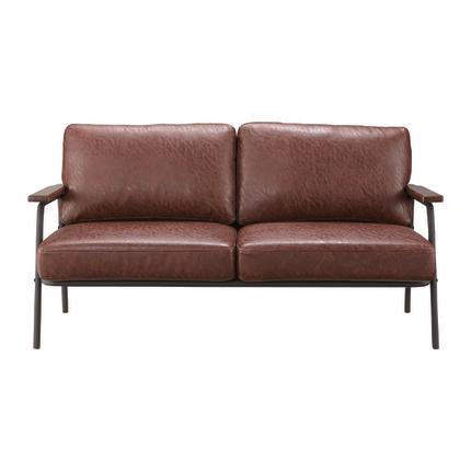 2人掛けソファー ブラウン 合皮製 レトロモダン風 2人用ソファー 二人掛けソファー 二人用ソファー ラブソファー そふぁー ダブルソファー コンパクトソファー