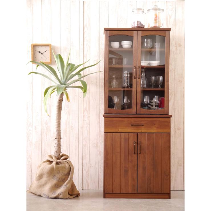 キャビネット 完成品 幅70cm ブラウン 木製 アンティーク風 リビング収納家具 サイドボード 飾り棚 飾棚 リビングボード 収納棚 リビングラック リビングシェルフ 収納ラック 食器棚 書棚 本棚