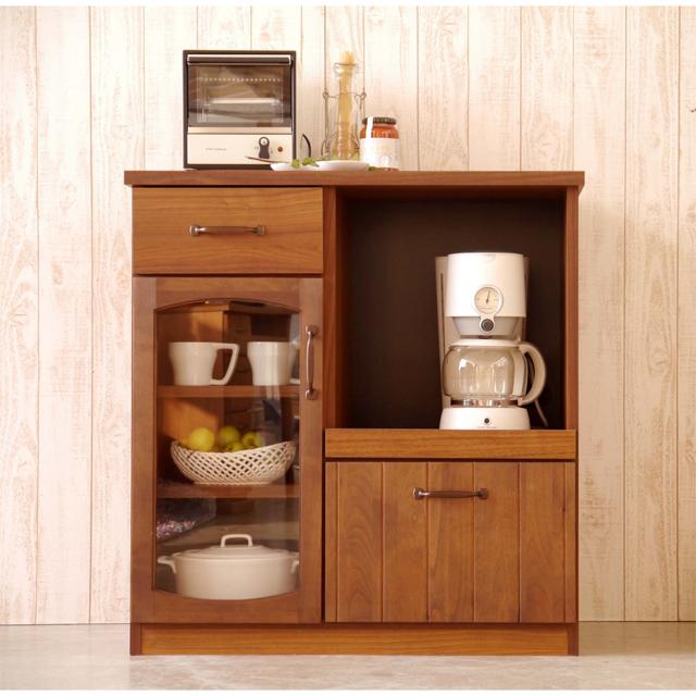 キッチンカウンター 完成品 幅80cm ブラウン 木製 アンティーク風 キッチン収納 食器棚 食器収納 ダイニングボード キッチンボード キッチンキャビネット 水屋