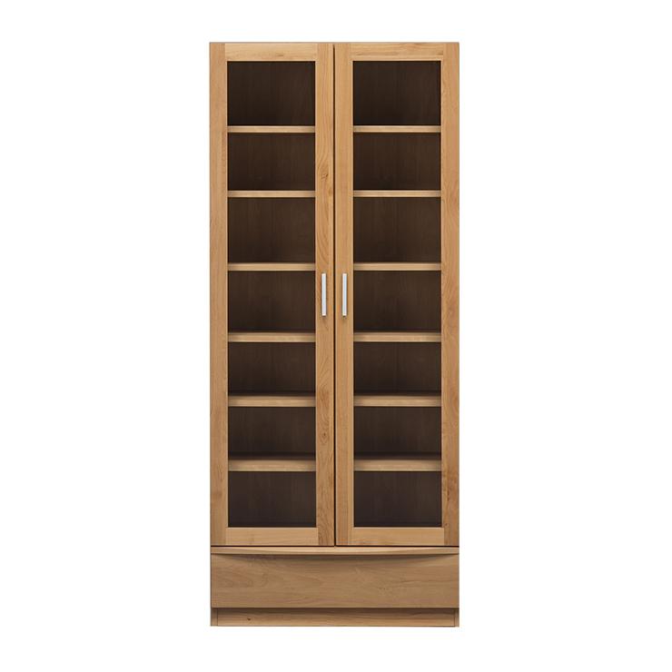 書棚 完成品 幅77cm 扉付き 木製 アルダー 北欧風 ハイタイプ 国産品 ブラウン ナチュラル 堀田木工所