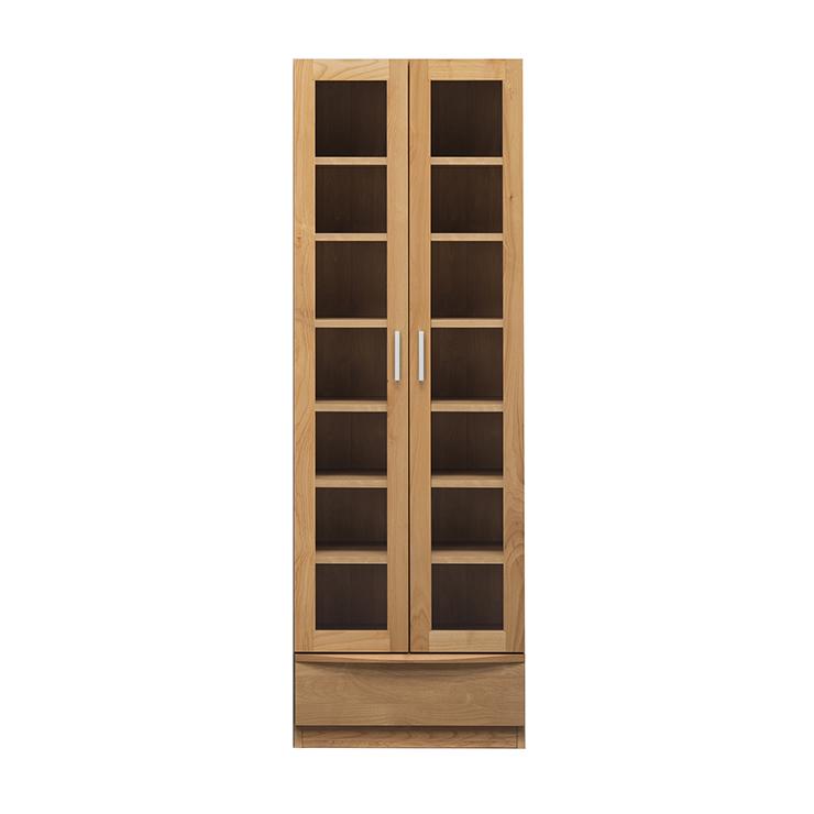 書棚 完成品 幅60cm 扉付き 木製 アルダー 北欧風 ハイタイプ 国産品 ブラウン ナチュラル 堀田木工所