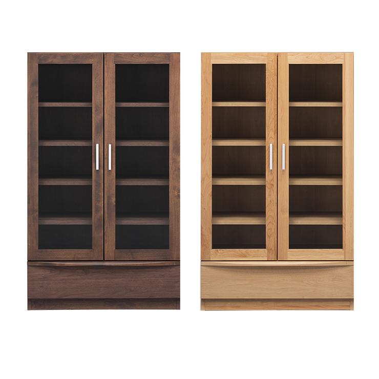 書棚 完成品 幅77cm 扉付き 木製 アルダー 北欧風 ロータイプ 国産品 ブラウン ナチュラル 堀田木工所