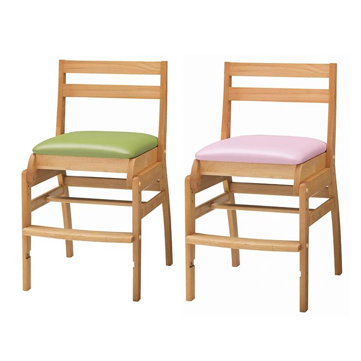 学習チェアー 椅子 いす デスクチェアー 勉強椅子 ナチュラル ピンク グリーン 緑 アルダー 国産品 日本製 堀田木工所 ダック No.6