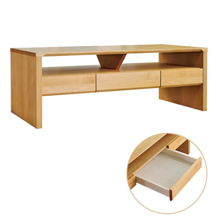 ローテーブル 幅105cm 木製 アルダー 引き出し付き 北欧風 ナチュラル ブラウン 堀田木工所