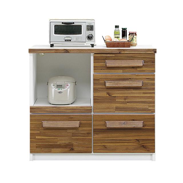 キッチンカウンター 完成品 幅100cm ブラウン ホワイト 白 木製 和風モダン風 キッチン収納 食器棚 食器収納 ダイニングボード キッチンボード キッチンキャビネット 水屋