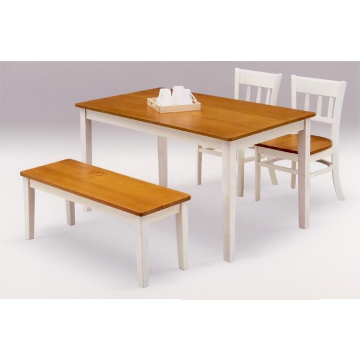 ダイニングテーブルセット 4点セット ホワイト 白 ブラウン 木製 カントリー風 ダイニングセット ベンチタイプ 4人掛け 4人用ダイニングセット 食堂セット 食卓テーブルセット ダイニング4点セット カフェテーブルセット 四人掛け 四人用