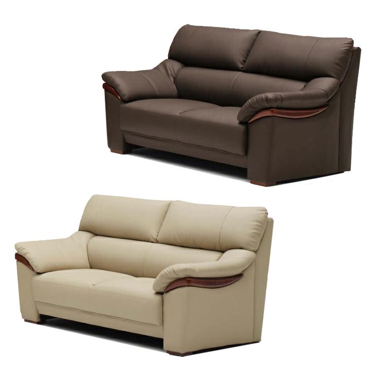 2人掛けソファー 約幅155cm ベージュ ブラウン 合皮製 モダン風 2人用ソファー 二人掛けソファー 二人用ソファー ラブソファー そふぁー ダブルソファー コンパクトソファー