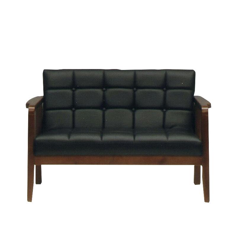 2人掛けソファー ブラック 黒 合皮製 レトロモダン風 2人用ソファー 二人掛けソファー 二人用ソファー ラブソファー そふぁー ダブルソファー コンパクトソファー