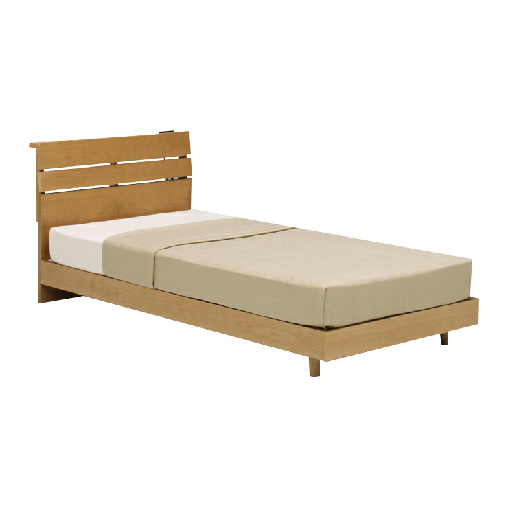 シングルベッドフレーム シングルベットフレームのみ ナチュラル 木製 モダン風