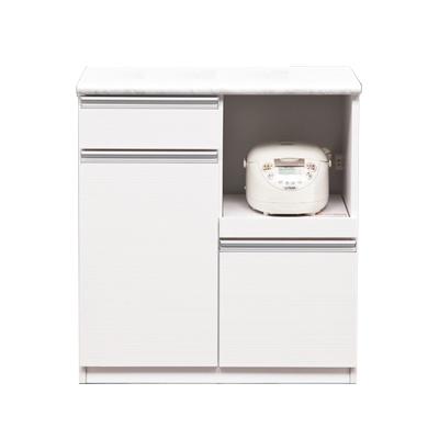 キッチンカウンター 完成品 幅80cm ホワイト 白 木製 モダン風 キッチン収納 食器棚 食器収納 ダイニングボード キッチンボード キッチンキャビネット 水屋 国産品 日本製