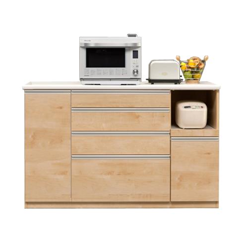 【設置無料】キッチンカウンター 完成品 幅140cm ナチュラル 木製 キッチン収納 食器棚 食器収納 ダイニングボード キッチンボード キッチンキャビネット 水屋 国産品 日本製