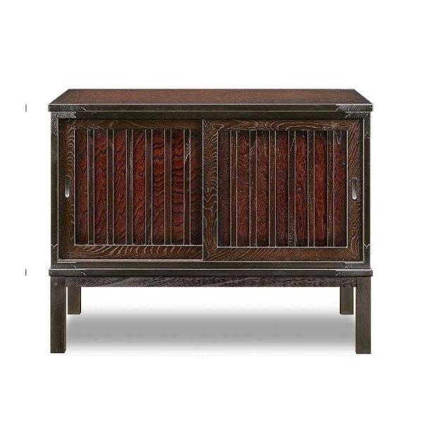 キャビネット 完成品 木製 和風 約幅90cm ブラウン リビング収納家具 サイドボード 飾り棚 飾棚 リビングボード 収納棚 リビングラック シェルフ