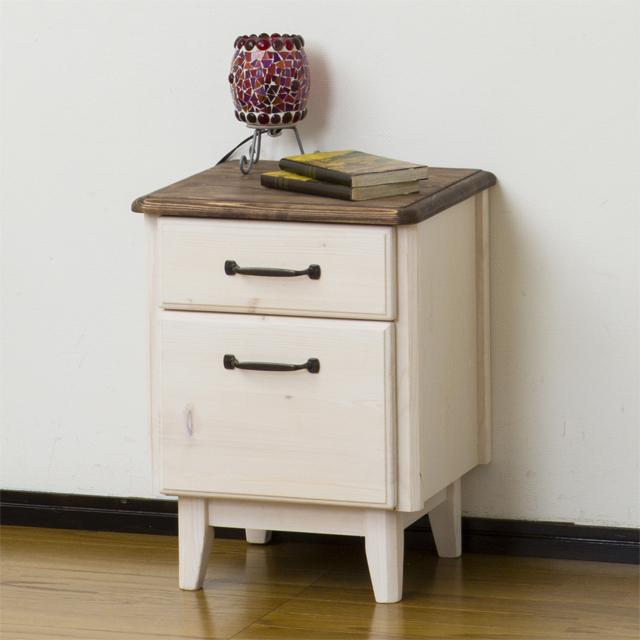 サイドテーブル 幅40cm ホワイトウォッシュ 白 ブラウン 木製 フレンチカントリー風 コーナーテーブル ベッドサイドテーブル ソファーサイドテーブル コーヒーテーブル カフェテーブル てーぶる