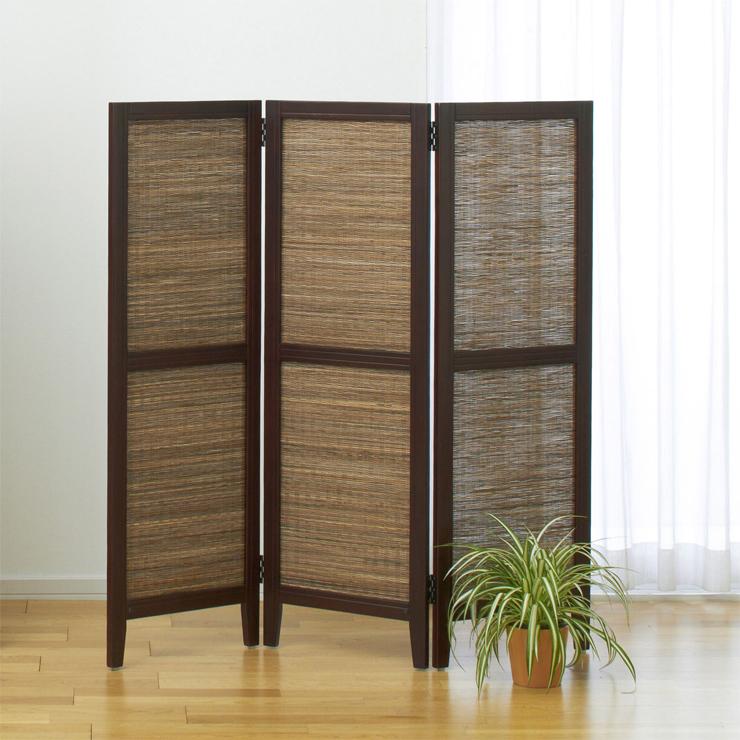 衝立 3連 ブラウン 木製 アジアン風 ついたて パーテーション スクリーン パーティション 目隠し 家具 おしゃれ オシャレ