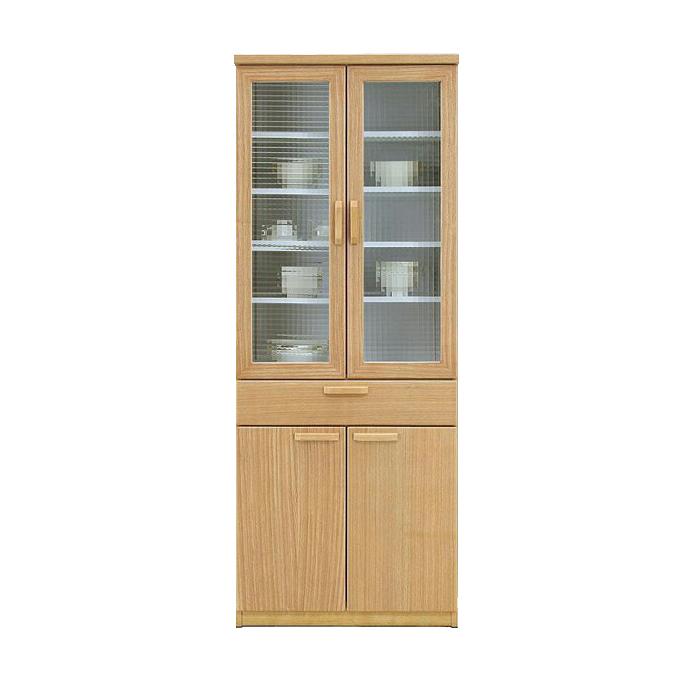 食器棚 完成品 幅70cm ナチュラル 木製 北欧風 ダイニングボード キッチンボード 食器収納家具 キッチン収納棚 キッチンキャビネット 水屋 国産品 日本製