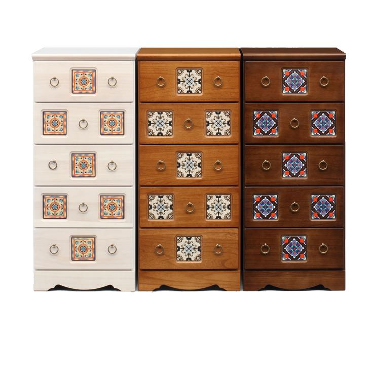 スリムチェスト 完成品 幅45cm5段 ホワイト 白 ナチュラル ブラウン 木製 アンティーク風