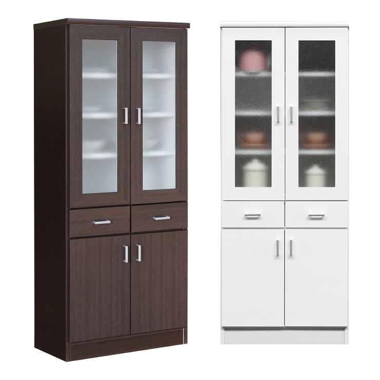 食器棚 完成品 幅60cm  ホワイト(白)、ブラウン  木製  モダンデザイン ダイニングボード キッチンボード 食器収納家具 キッチン収納棚 キッチンキャビネット 水屋 カップボード 食器収納棚