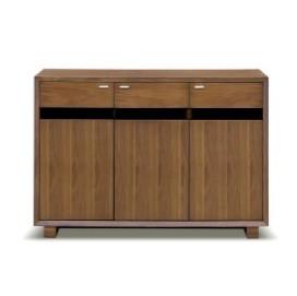 キャビネット 完成品 木製 北欧風 幅120cm ブラウン リビング収納家具 サイドボード 飾り棚 飾棚 リビングボード 収納棚 リビングラック シェルフ