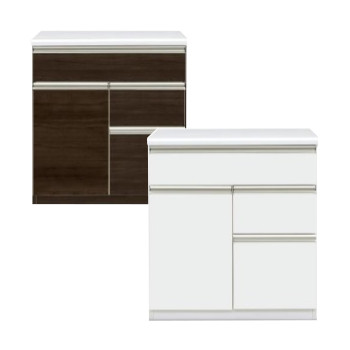 キッチンカウンター 完成品 幅80cm 80cm幅 80幅 木製 モダン ホワイト 白 ダークブラウン キッチン収納 食器棚 食器収納 ダイニングボード キッチンボード キッチンキャビネット 水屋