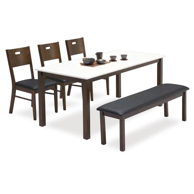 ダイニングテーブルセット ダイニングセット 5点セット 6人掛け 6人用 食堂セット 食卓テーブルセット ダイニング5点セットカフェテーブルセット 六人掛け 六人用 北欧モダン風 ベンチ付き ベンチタイプ ブラウン ホワイト 白