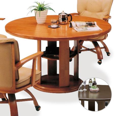 ダイニングテーブル 円形 幅120cm 木製 4人用 四人用 カントリー風 カフェテーブル 食堂テーブル 食卓テーブル てーぶる ブラウン ナチュラル