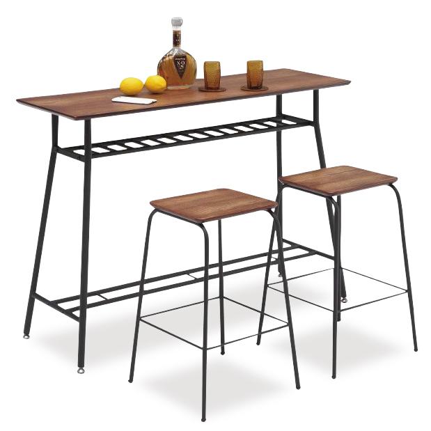 カウンターテーブル カウンターチェアー 3点セット 幅120cm ブラウン