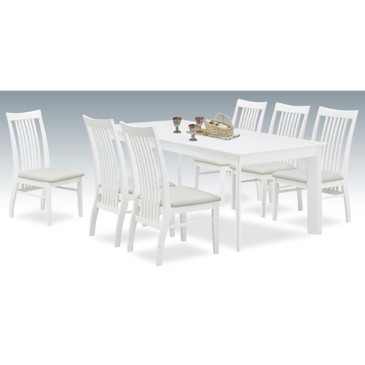 ダイニングテーブルセット ダイニングセット 7点セット 6人掛け 6人用 食堂セット 食卓テーブルセット ダイニング7点セット・カフェテーブルセット 六人掛け 六人用 木製 北欧モダン風 ホワイト 白