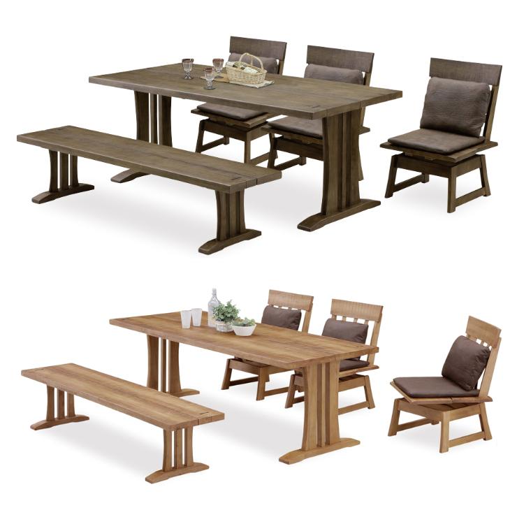 ダイニングテーブルセット ダイニングセット 5点セット 6人掛け 6人用 食堂セット 食卓テーブルセット ダイニング5点セット・カフェテーブルセット 六人掛け 六人用 ブラウン ナチュラル 木製 和風モダン風