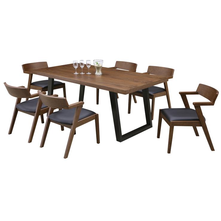ダイニング7点セット ダイニングテーブルセット 6人掛けダイニングセット カフェテーブルセット 食堂セット 食卓セット 6人用ダイニングセット 六人用ダイニングセット 六人掛けダイニングセット ブラウン 木製 和風